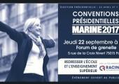 Convention pour le redressement de l'Ecole et de l'Enseignement supérieur jeudi 22 septembre, avec Marine Le Pen et Florian Philippot.